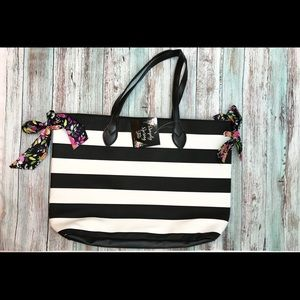 Large Striped Tote..Brand New W/ removable Scarfs